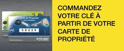 Commander une clé avec une carte de propriété